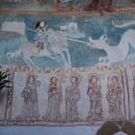 Św. Jerzy zabijający smoka, u dołu Apostołowie, św. Mikołaj i św. Jadwiga śląska, Lubiechowa