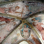 Polichromie w Lubiechowej, sklepienie, Chrystus jako sędzia, Maria i św. Jan, aniołowie