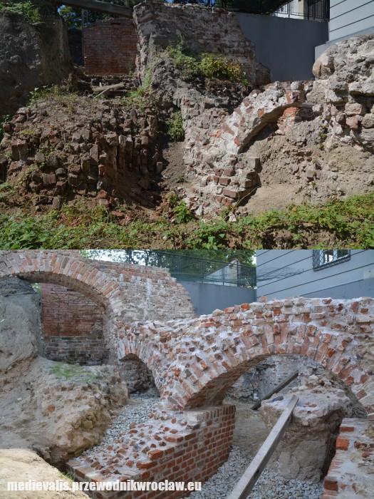 Pierścień fundamentowy budowli osiemnastobocznej, przed i po konserwacji