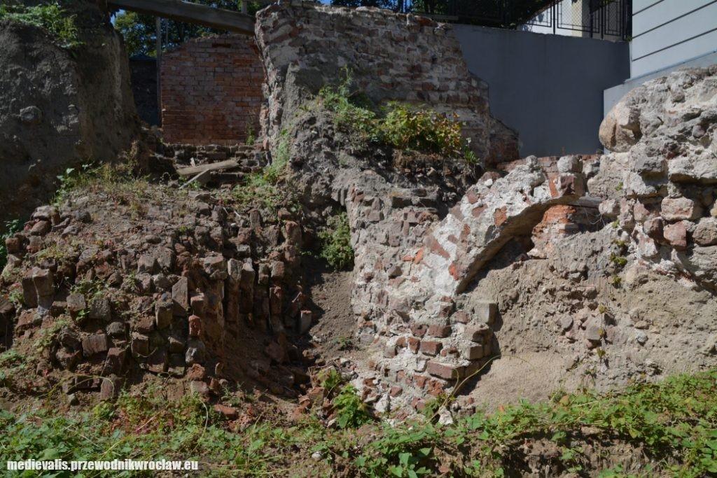 Pierścień fundamentowy budowli osiemnastobocznej z fragmentem zawalonego muru płaszczowego przed konserwacją
