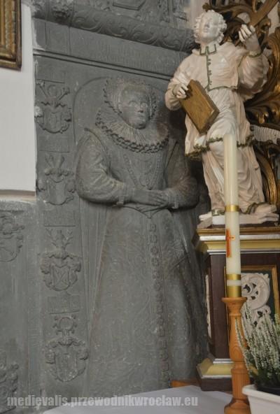 Borzygniew, epitafium Barbary von Schindel z domu von Los, zm. 1605